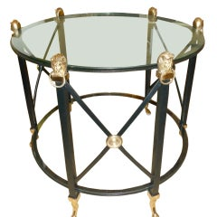Classic Brass Lion Medallion and Black Iron 2 Tiered Side Table