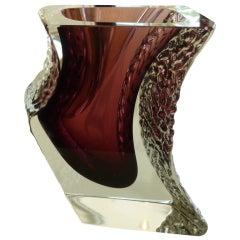 Stunning Italian Mandruzzato Murano Aubergine/Clear Glass Sommerso Vase