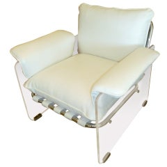 Pace Argenta Lucite and Chrome Lounge Chair