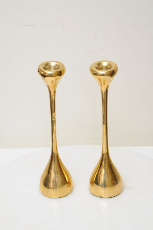 These beautiful little gems of candlesticks shine Elsa Peretti style; elegant, like jewelry.Perfect for anywhere! They have some good weight to them, and unscrew in the center; very well made, and oh so moderne!  The quality and specialness of