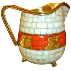 Signed Mexican Salvador Teran Glass Mosaic and Brass Pitcher