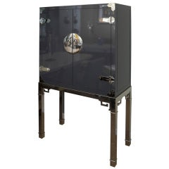 Mastercraft Rare Standing Lacquered and Nickel Silver Dry Bar