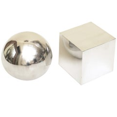 Heavy Chrome Square and Ball Still Life Sculpture