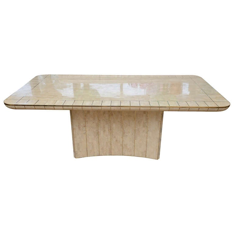 Maitland Smith Tesselated Stone And Brass Dining Or Library Table At 1stdibs