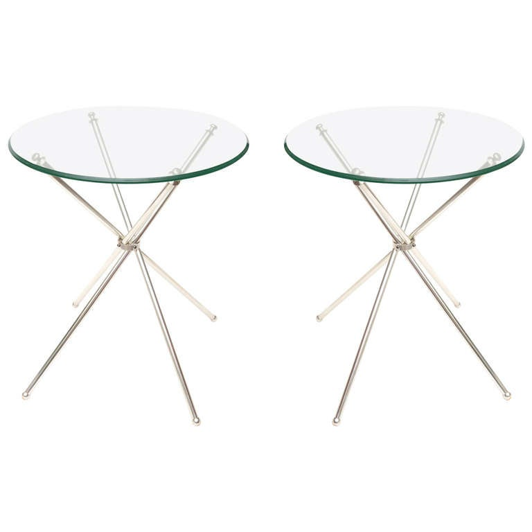 Pair of Elegant Tripod Folding Silver-Plate Side or Drink Tables