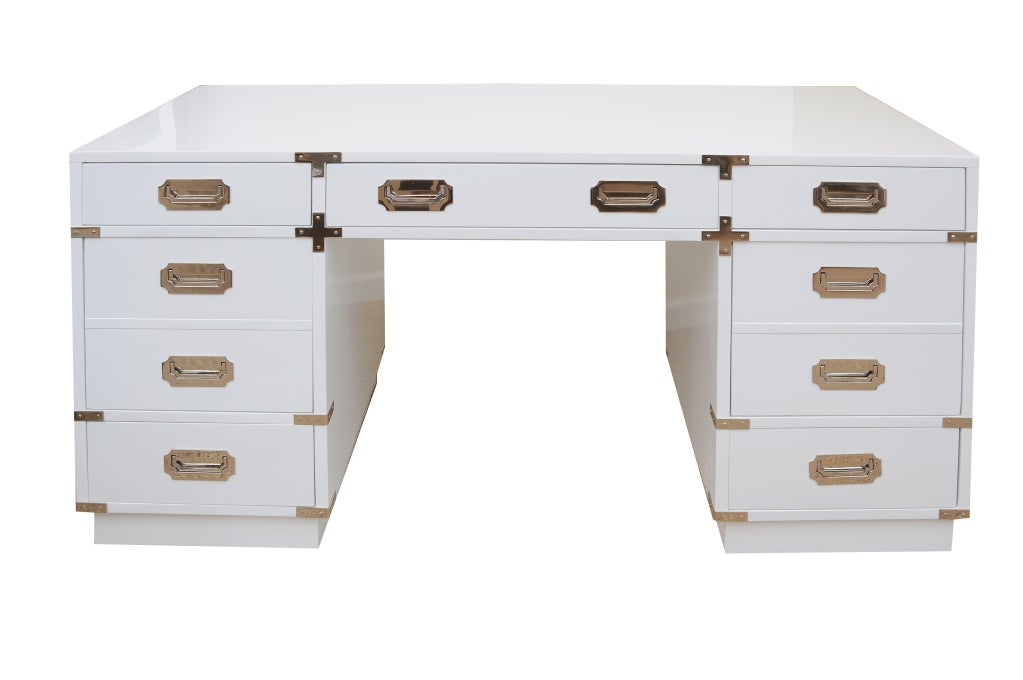Solid White Lacquered and Nickel Silver Campaign Desk 2