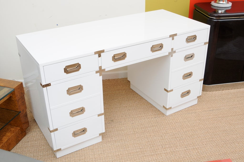 Solid White Lacquered and Nickel Silver Campaign Desk 3