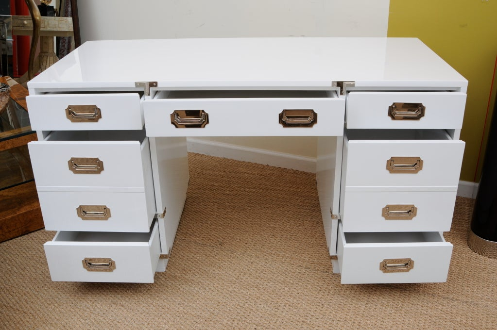 Solid White Lacquered and Nickel Silver Campaign Desk 5
