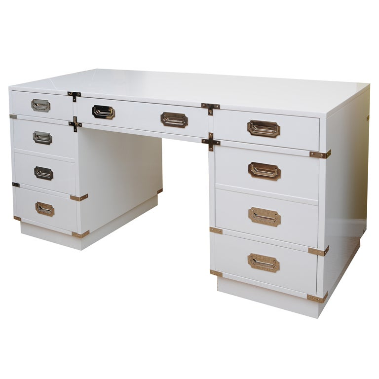 Solid White Lacquered and Nickel Silver Campaign Desk 1. Solid White Lacquered and Nickel Silver Campaign Desk at 1stdibs
