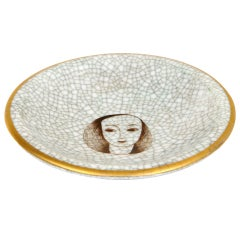 Finnish Crackled Fornasetti style Ceramic Dish/ Bowl