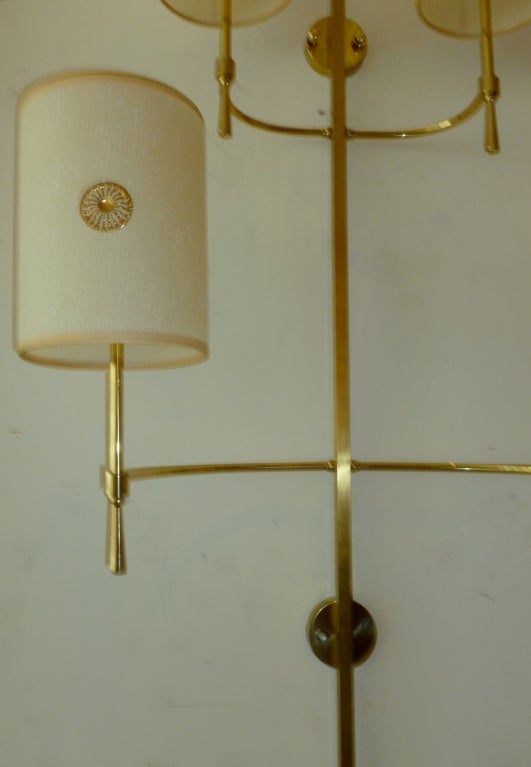 Pair of Parzinger Style Elegant Monumental Brass Wall Sconces at 1stdibs