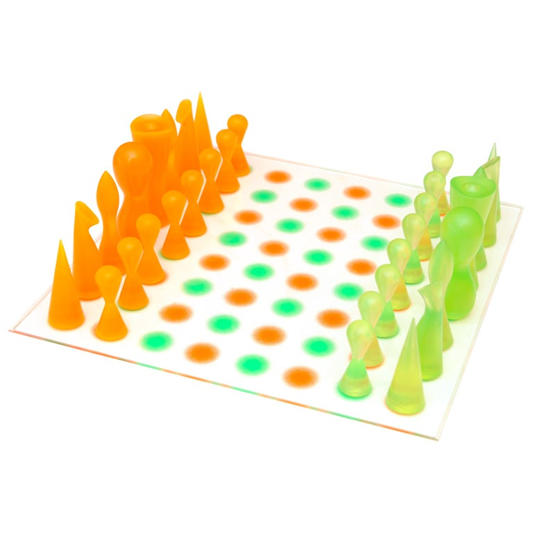 Luscious and sculptural thermoplastic rubber chess set sat sale at 1stdibs - Karim rashid chess set ...
