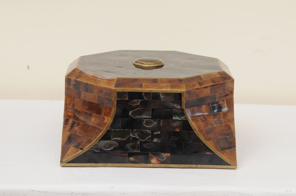 Magnificent Octagonal Maitland-Smith Horn Abalone And Brass Box 2