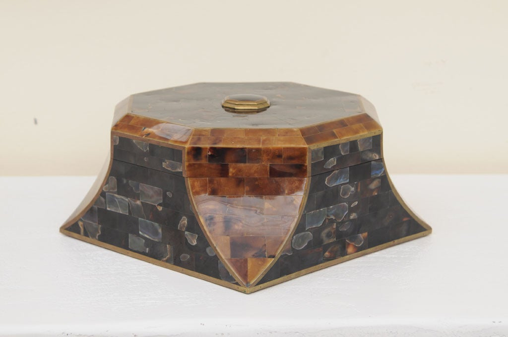 Magnificent Octagonal Maitland-Smith Horn Abalone And Brass Box 3
