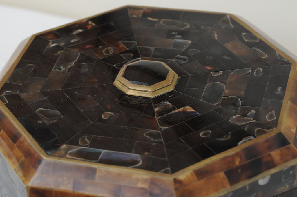 Magnificent Octagonal Maitland-Smith Horn Abalone And Brass Box 5