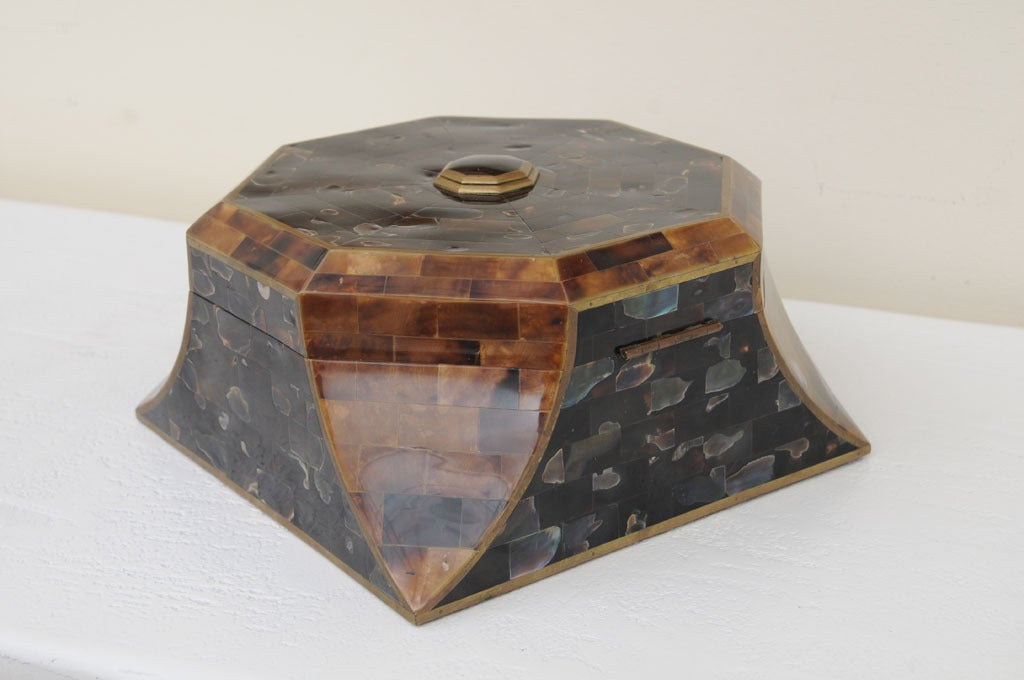 Magnificent Octagonal Maitland-Smith Horn Abalone And Brass Box 7