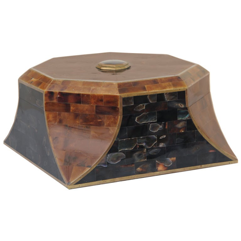 Magnificent Octagonal Maitland-Smith Horn Abalone And Brass Box 1