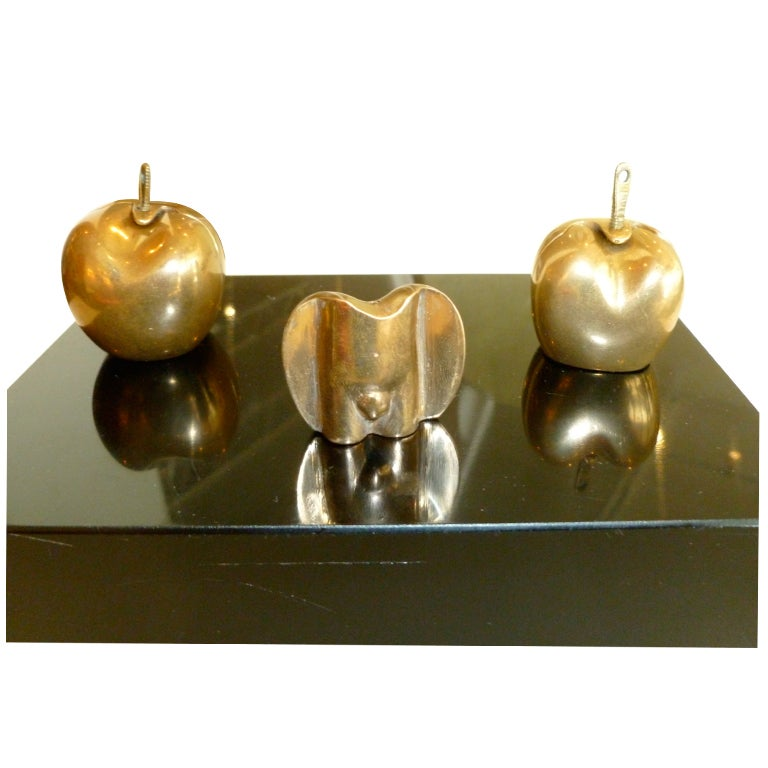 Intriguing Signed Adam And Eve Apple Torso Bronze