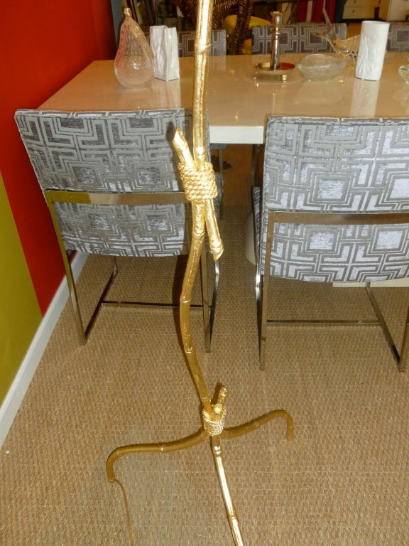 Gold Leaf Over Wood Knotched Bamboo And Rope Floor Lamp At