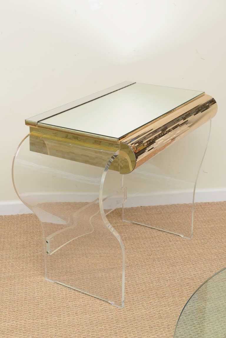 Lucite And Mirrored Vanity With Upholstered Bench At 1stdibs