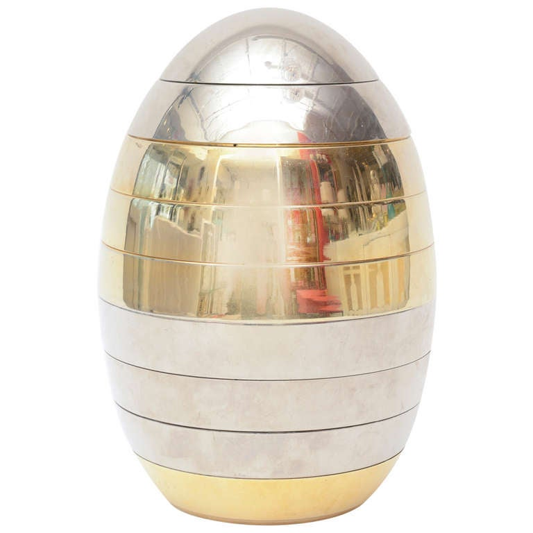 Italian Tommaso Barbi Sculptural Mixed Metal Stacking Tray Egg/ SALE