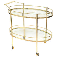 Mid Century Modern Two-Tiered Brass & Glass Oval Bar/ Serving Cart/ Trolley