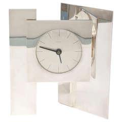 Spectacular Sculptural Silver-Plate Vintage Dunhill Clock