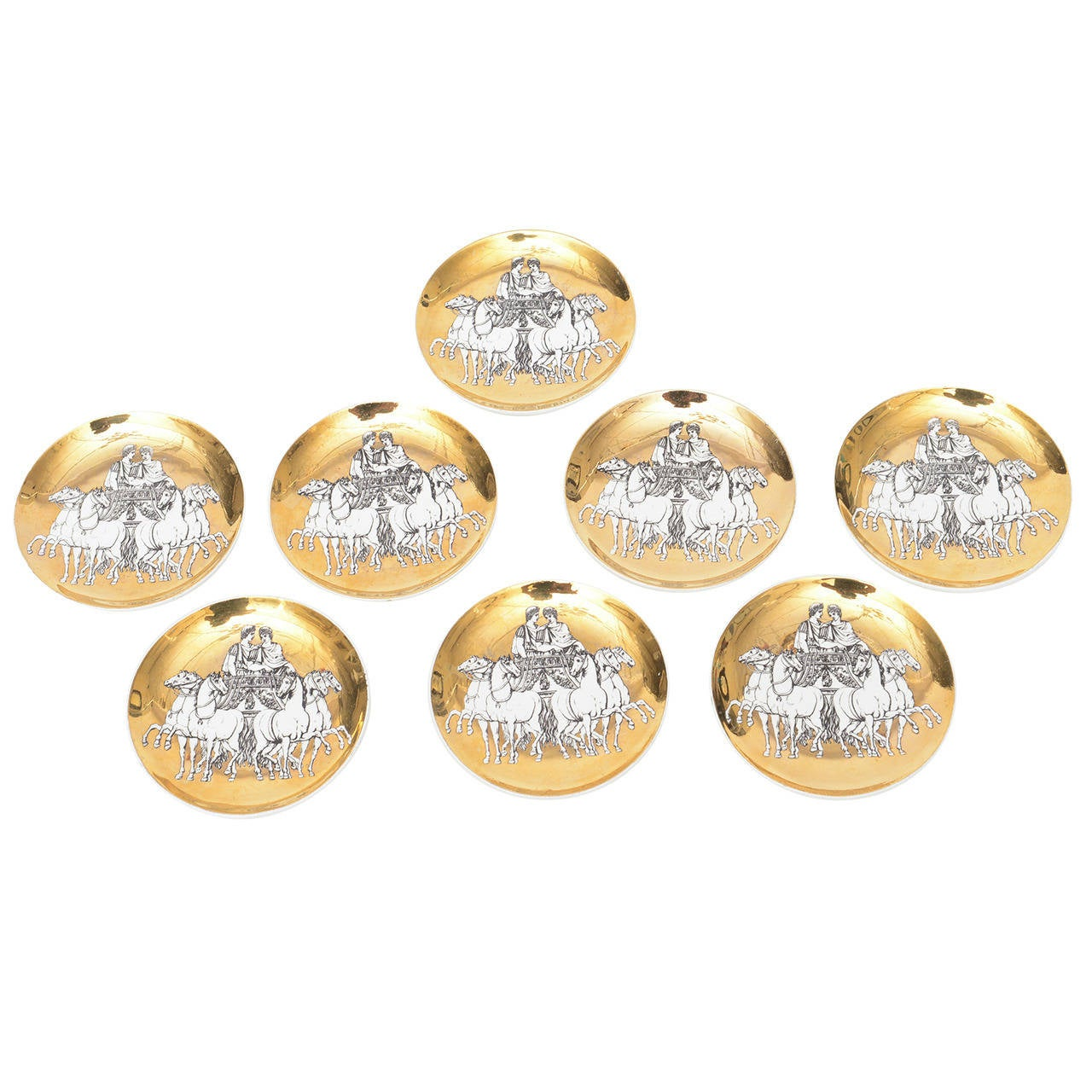 Set of Eight Italian Fornasetti Gilded Porcelain Roman Chariot Coasters