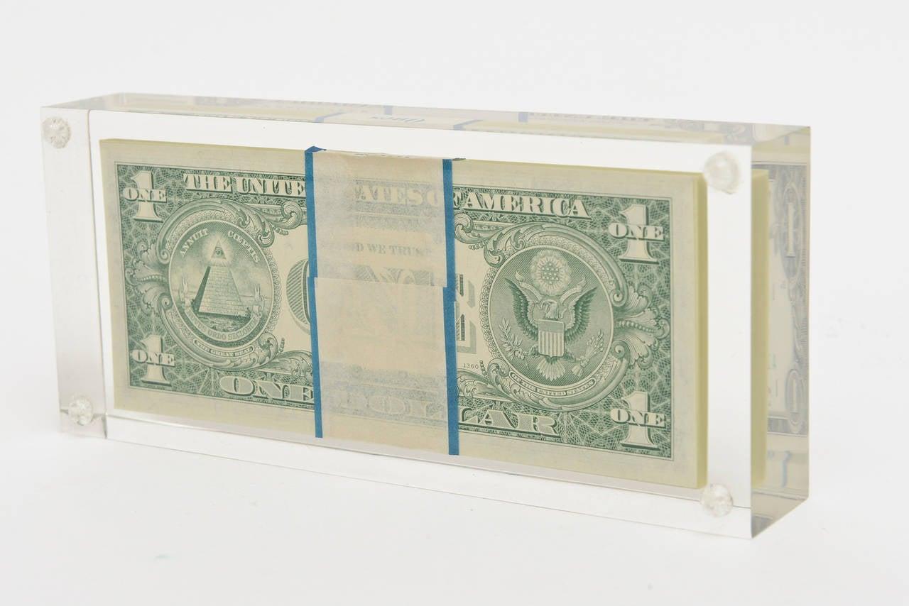 American Tongue N Cheek Vintage Dollar Bill Allusion Pop Art Lucite Sculpture  For Sale