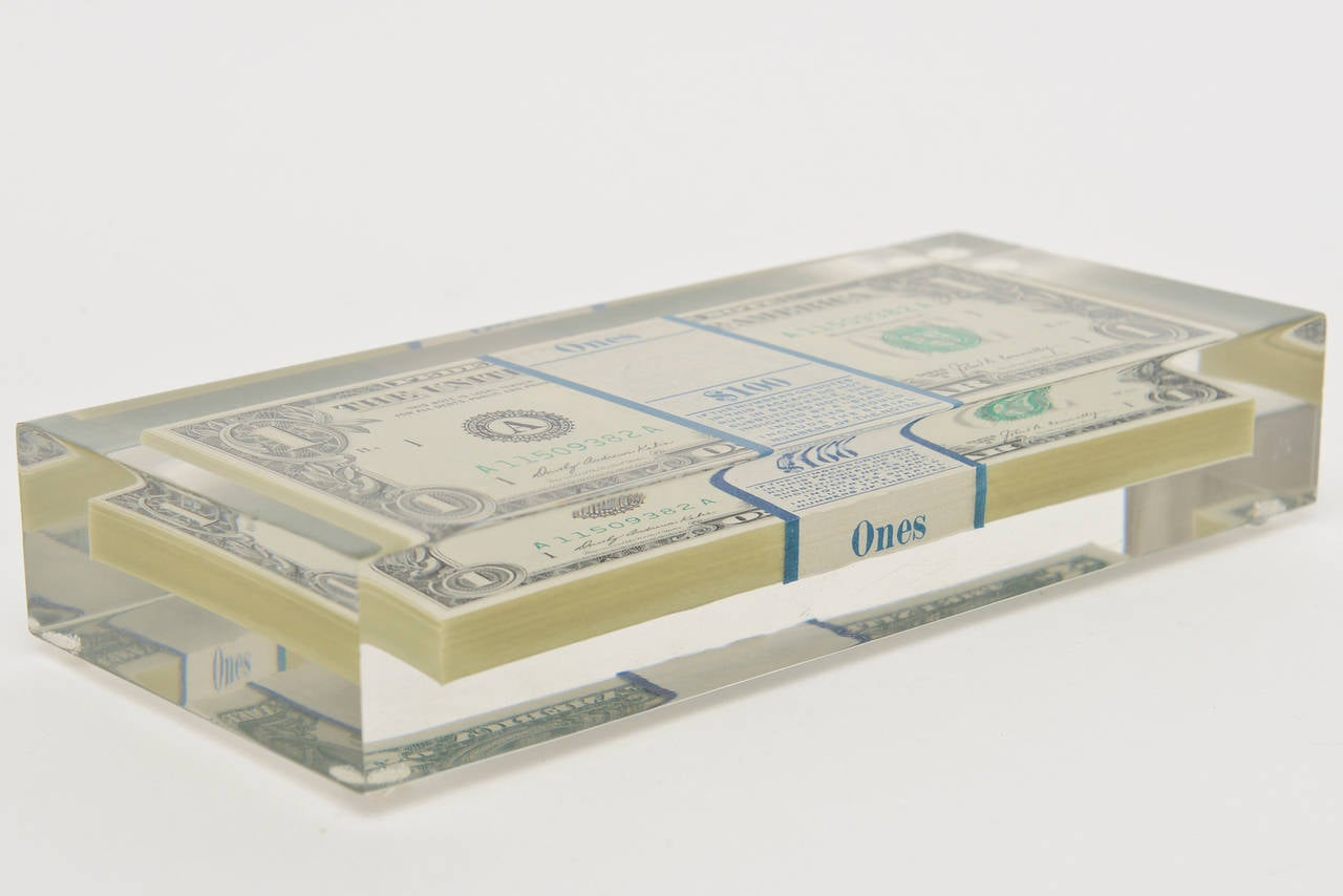 Tongue N Cheek Vintage Dollar Bill Allusion Pop Art Lucite Sculpture  In Excellent Condition For Sale In North Miami, FL