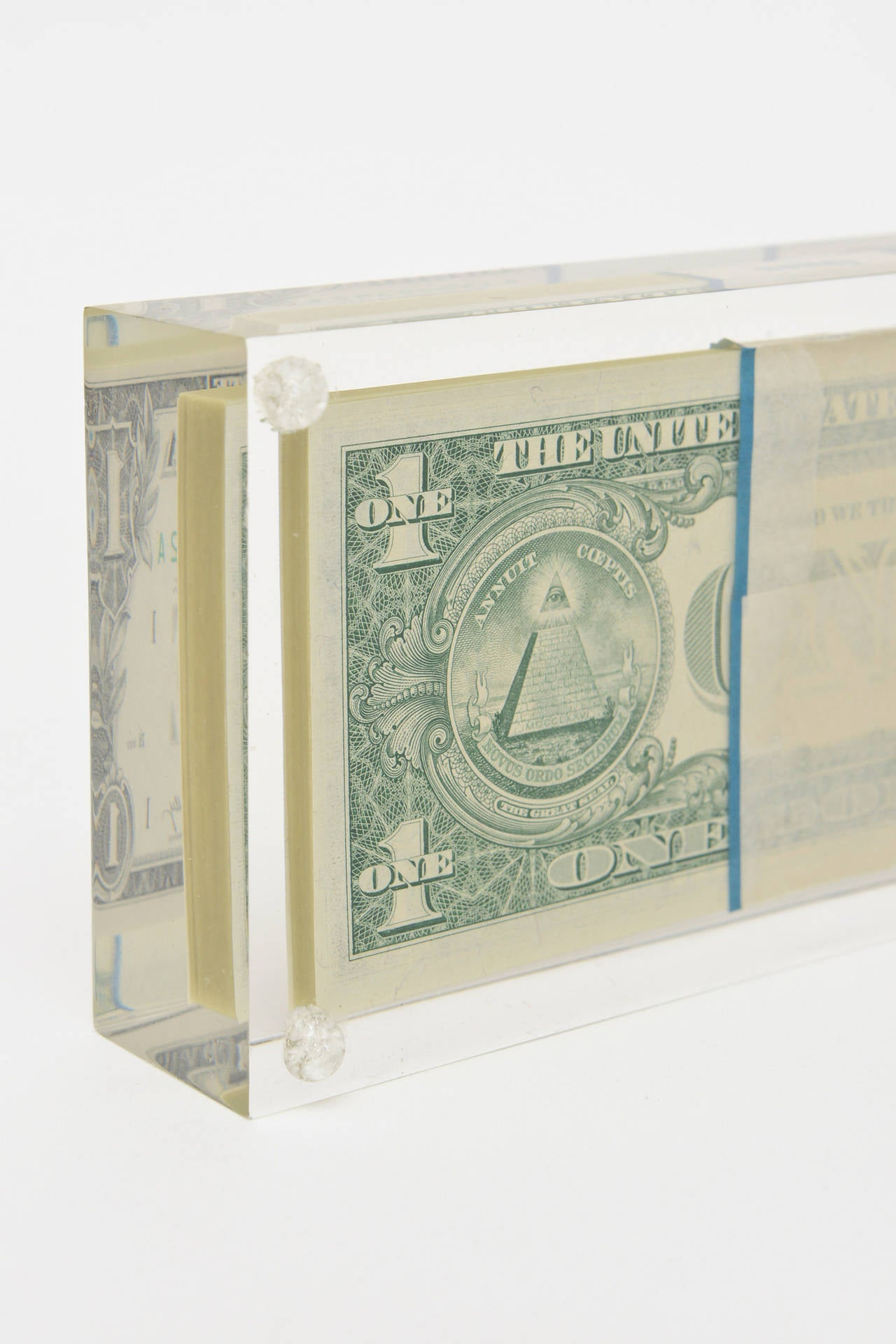 Late 20th Century Tongue N Cheek Vintage Dollar Bill Allusion Pop Art Lucite Sculpture  For Sale