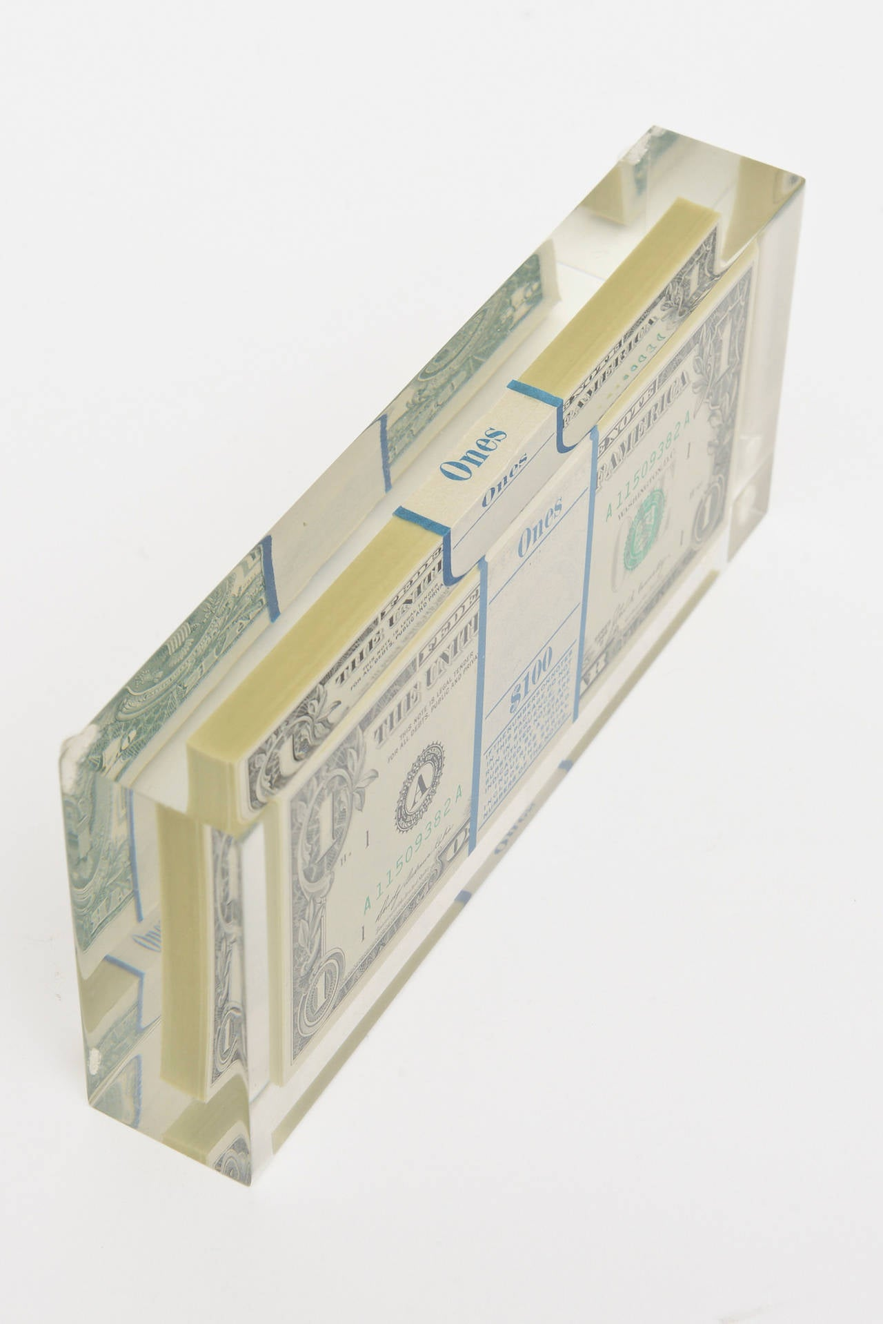 Tongue N Cheek Vintage Dollar Bill Allusion Pop Art Lucite Sculpture  For Sale 3
