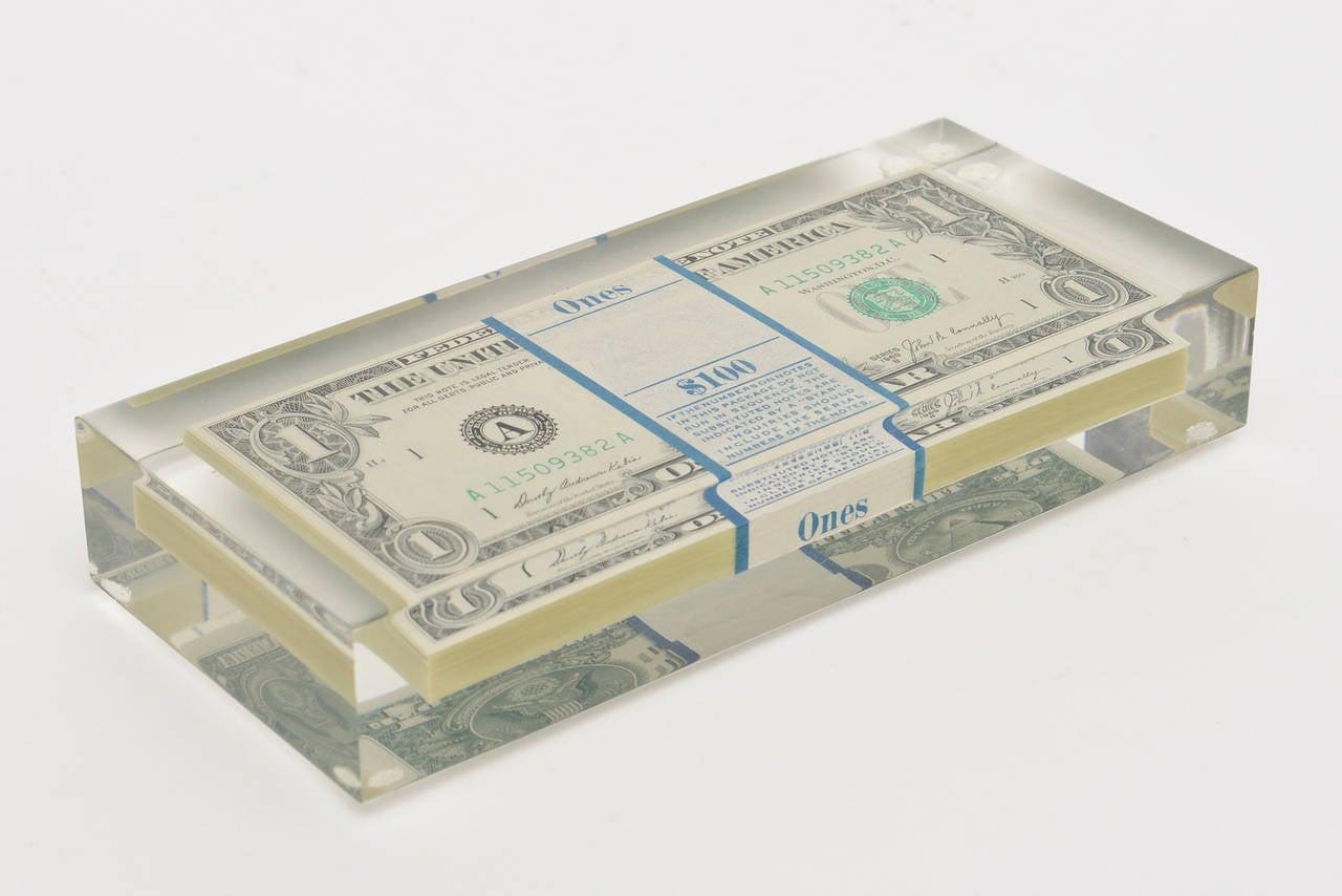 Tongue N Cheek Vintage Dollar Bill Allusion Pop Art Lucite Sculpture  For Sale 4