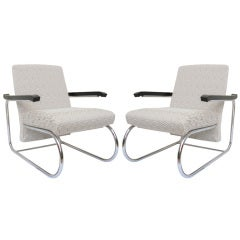 Pair of Bauhaus- Modern Deco Style Cantilvered Lounge Chairs