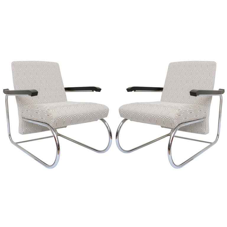 Pair of bauhaus modern deco style cantilvered lounge chairs at 1stdibs - Deco lounge eetkamer modern ...