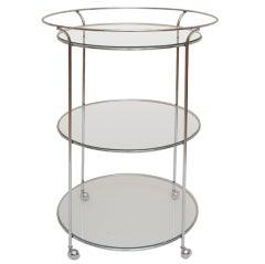 3 Tiered Round Chrome Italian Bar Cart/Serving/Vanity Cart
