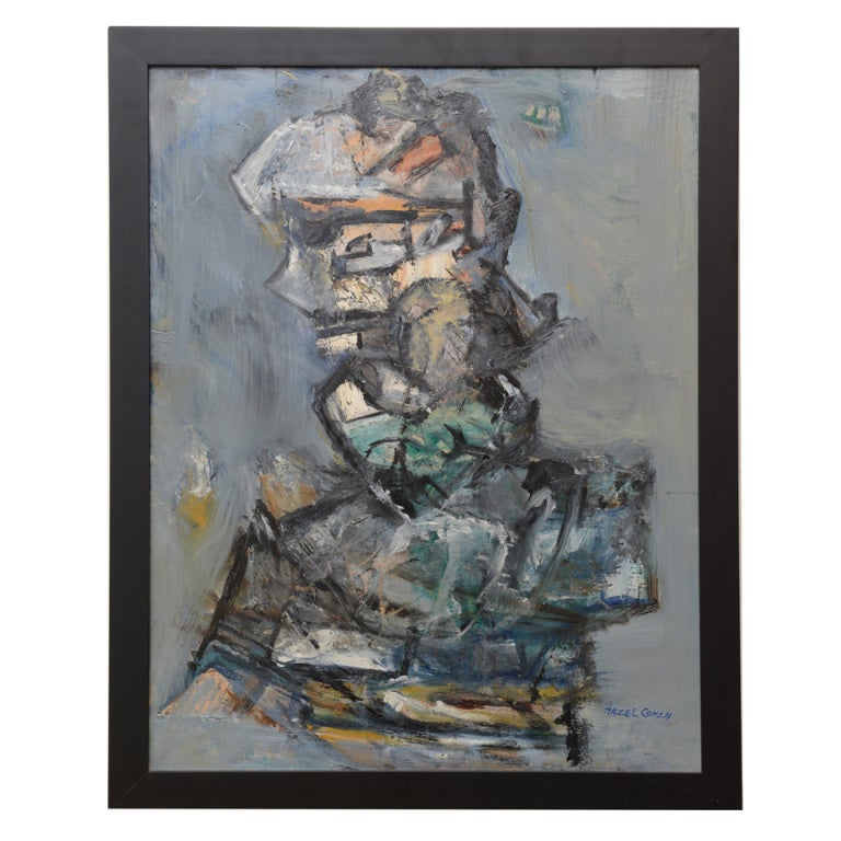 """Signed Abstract Jim Dine Style """"Torso"""" Painting"""