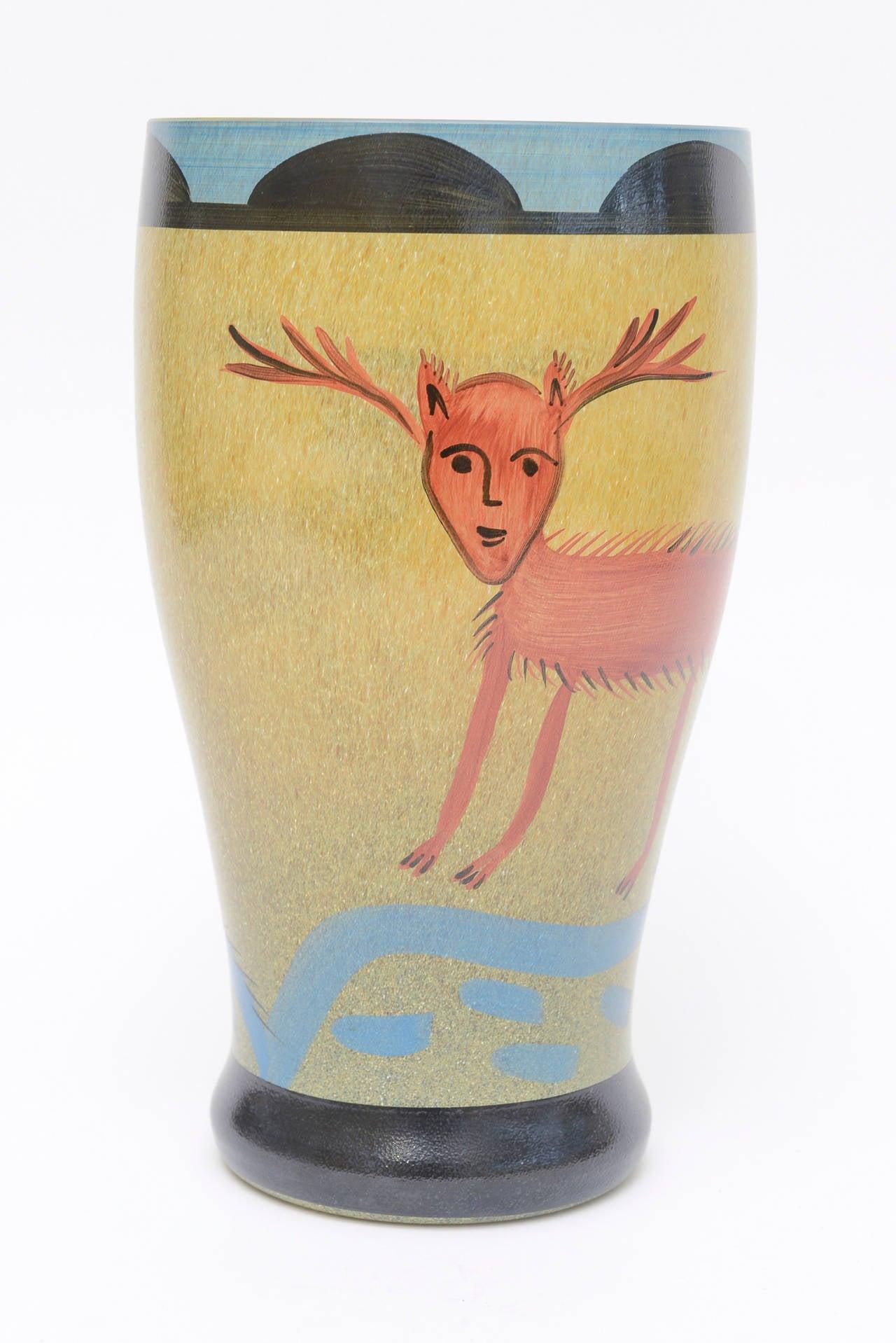 Modern Ulrica Hydman Vallien for Kosta Boda Primitive Painted Glass Vase