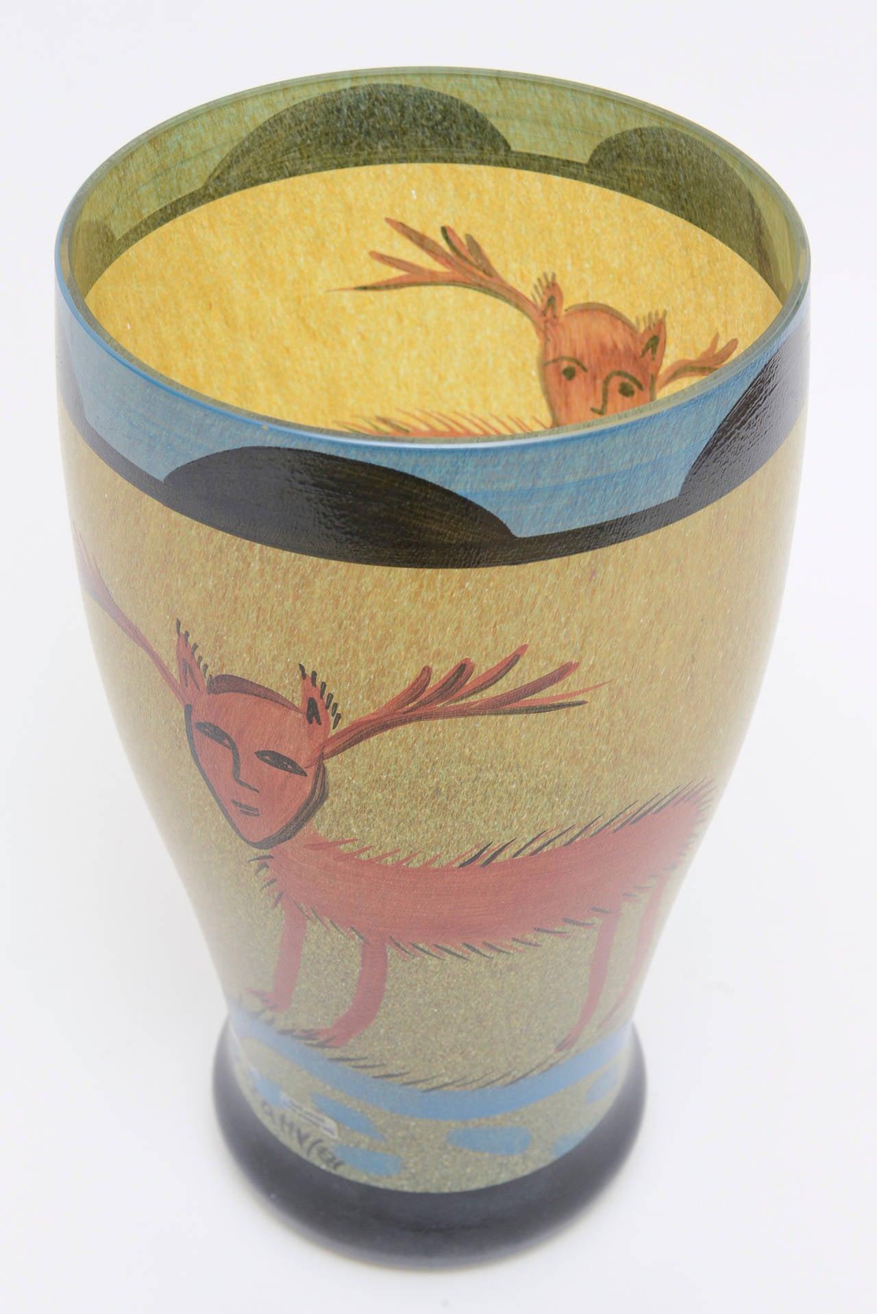 Swedish Ulrica Hydman Vallien for Kosta Boda Primitive Painted Glass Vase