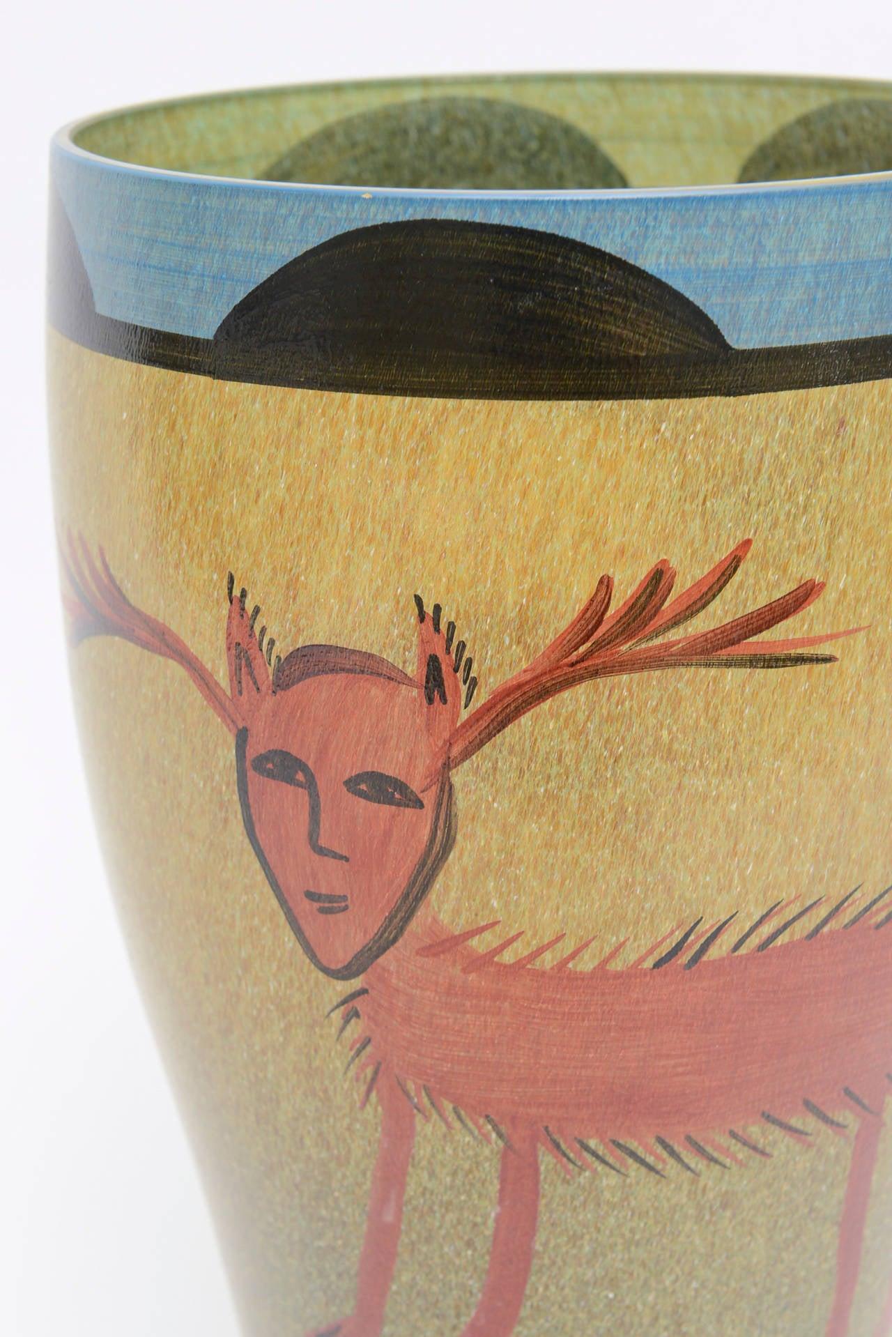 Ulrica Hydman Vallien for Kosta Boda Primitive Painted Glass Vase In Excellent Condition In North Miami, FL