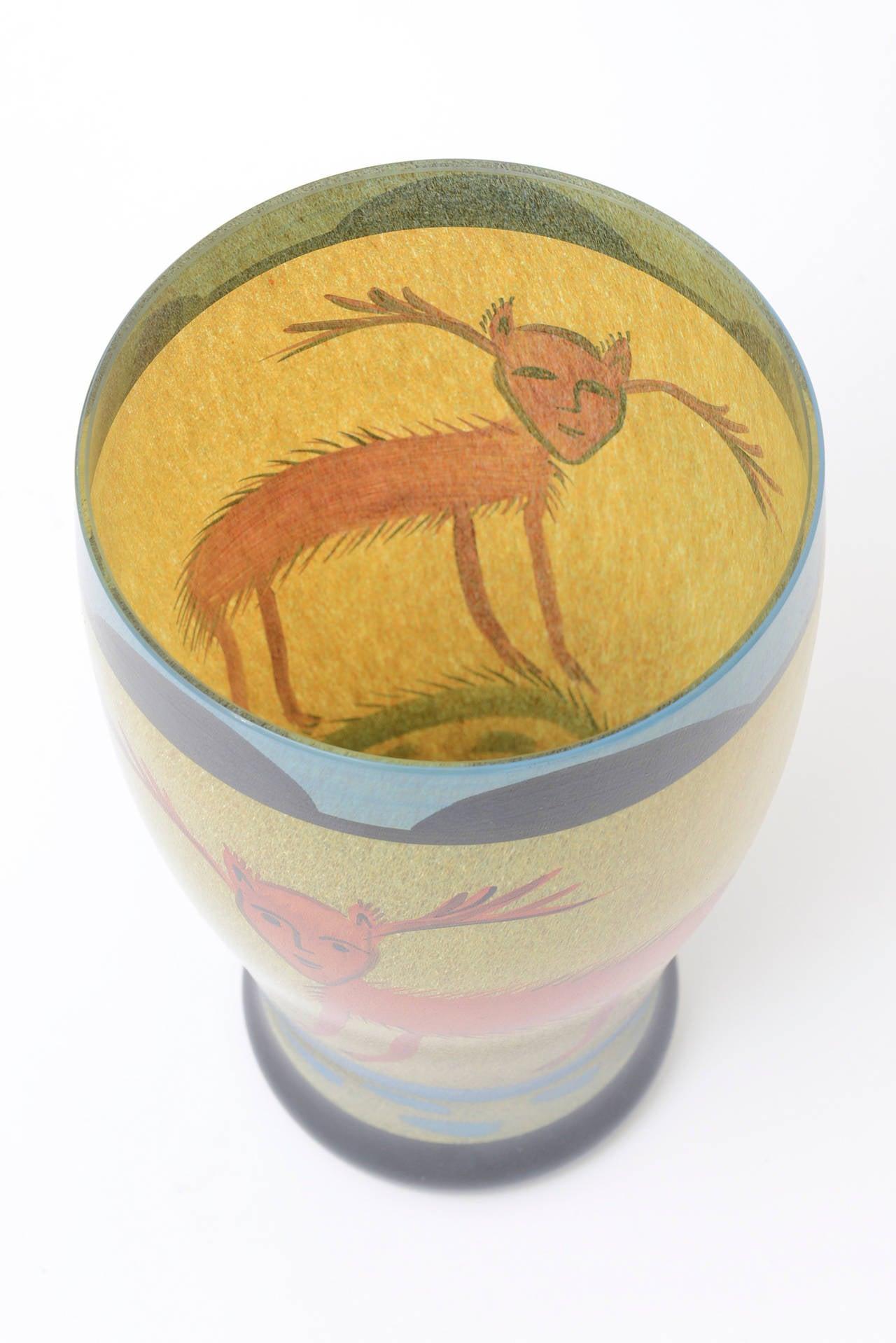 Ulrica Hydman Vallien for Kosta Boda Primitive Painted Glass Vase 2