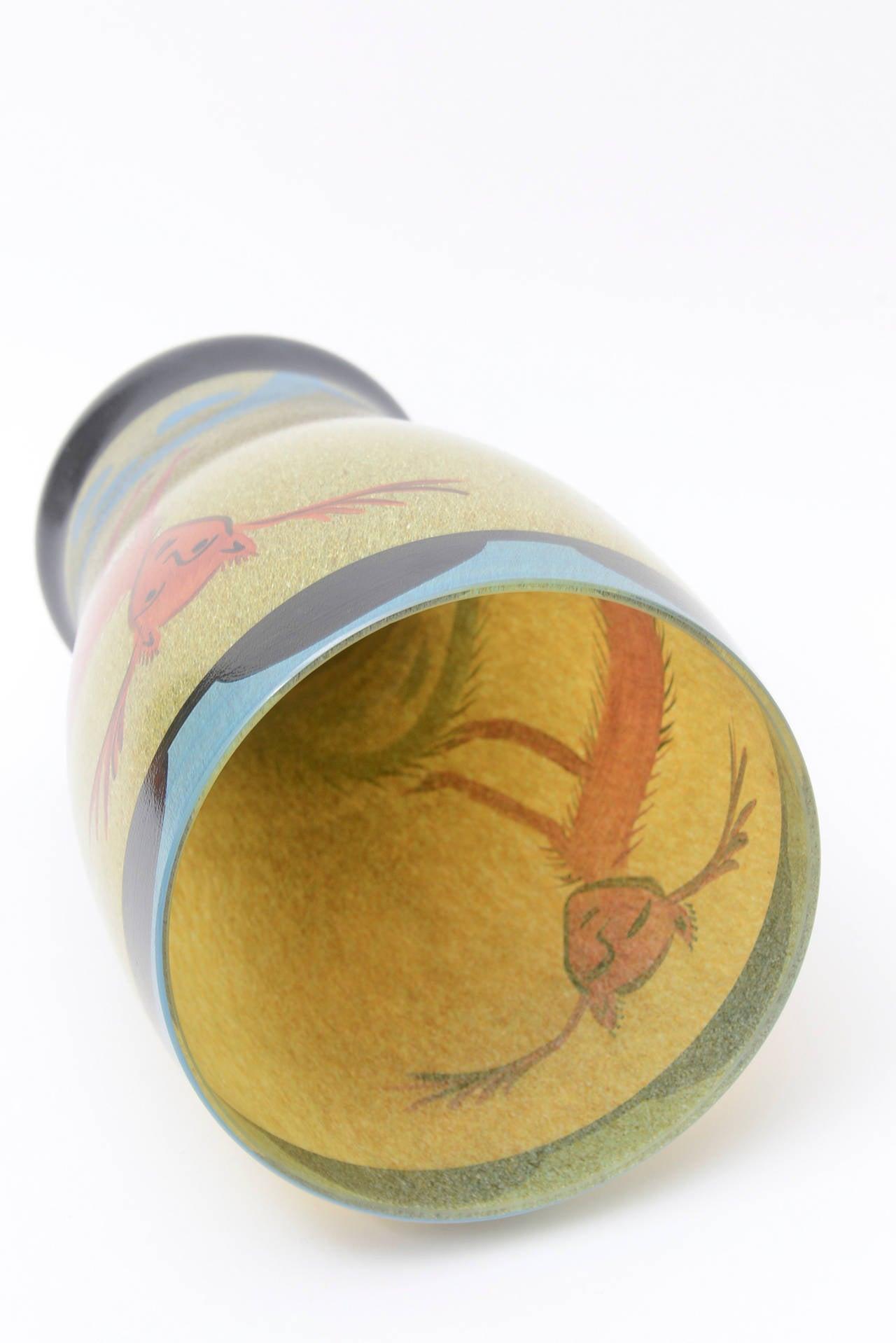 Ulrica Hydman Vallien for Kosta Boda Primitive Painted Glass Vase 3