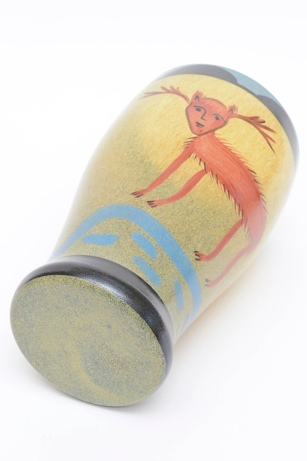 Ulrica Hydman Vallien for Kosta Boda Primitive Painted Glass Vase 4