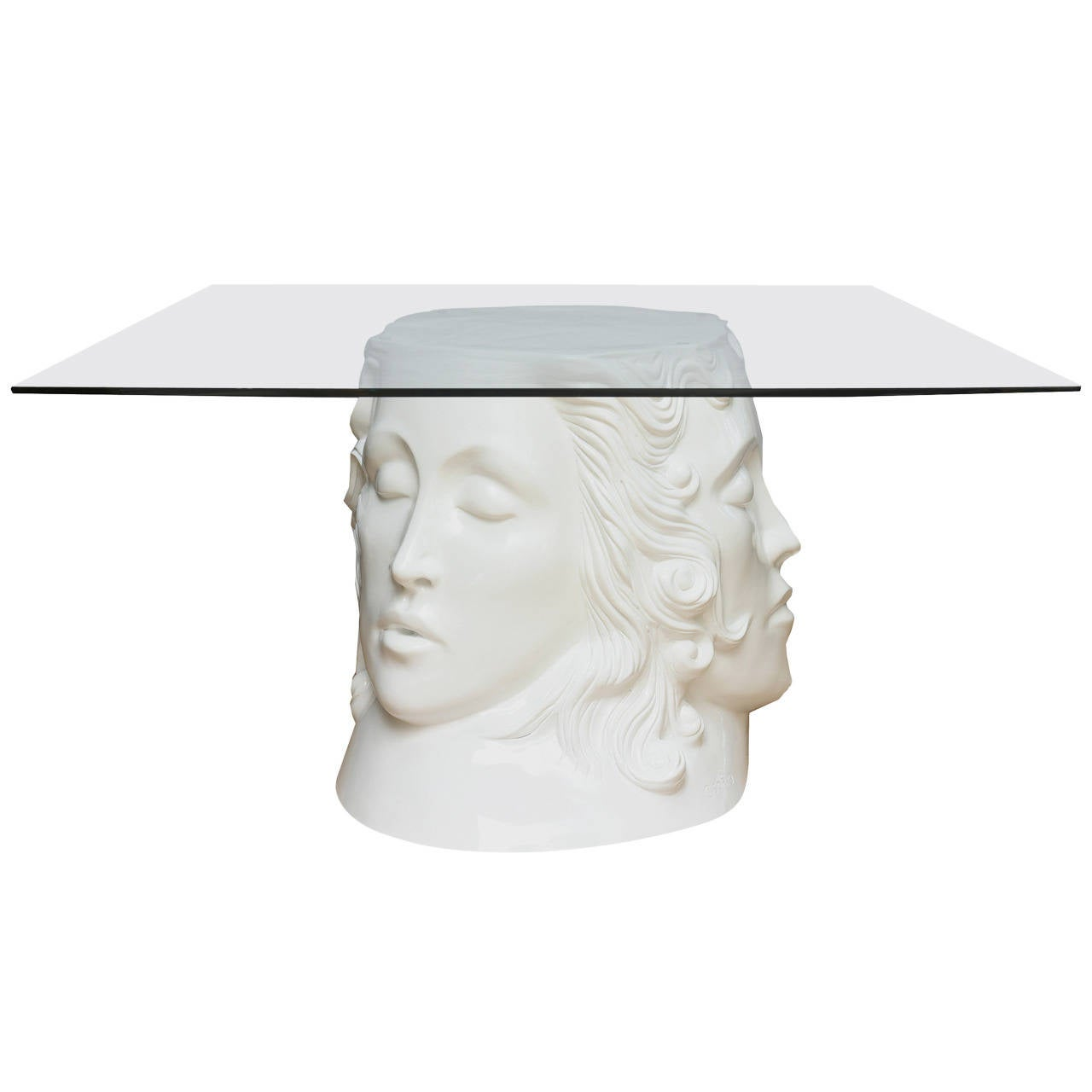 Signed White Lacquered Resin and Glass Dining Table or Desk
