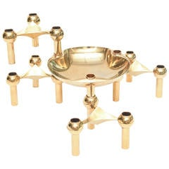 Fritz Nagel Sculptural Stackable Brass Candlesticks or Candelabra Centerpiece