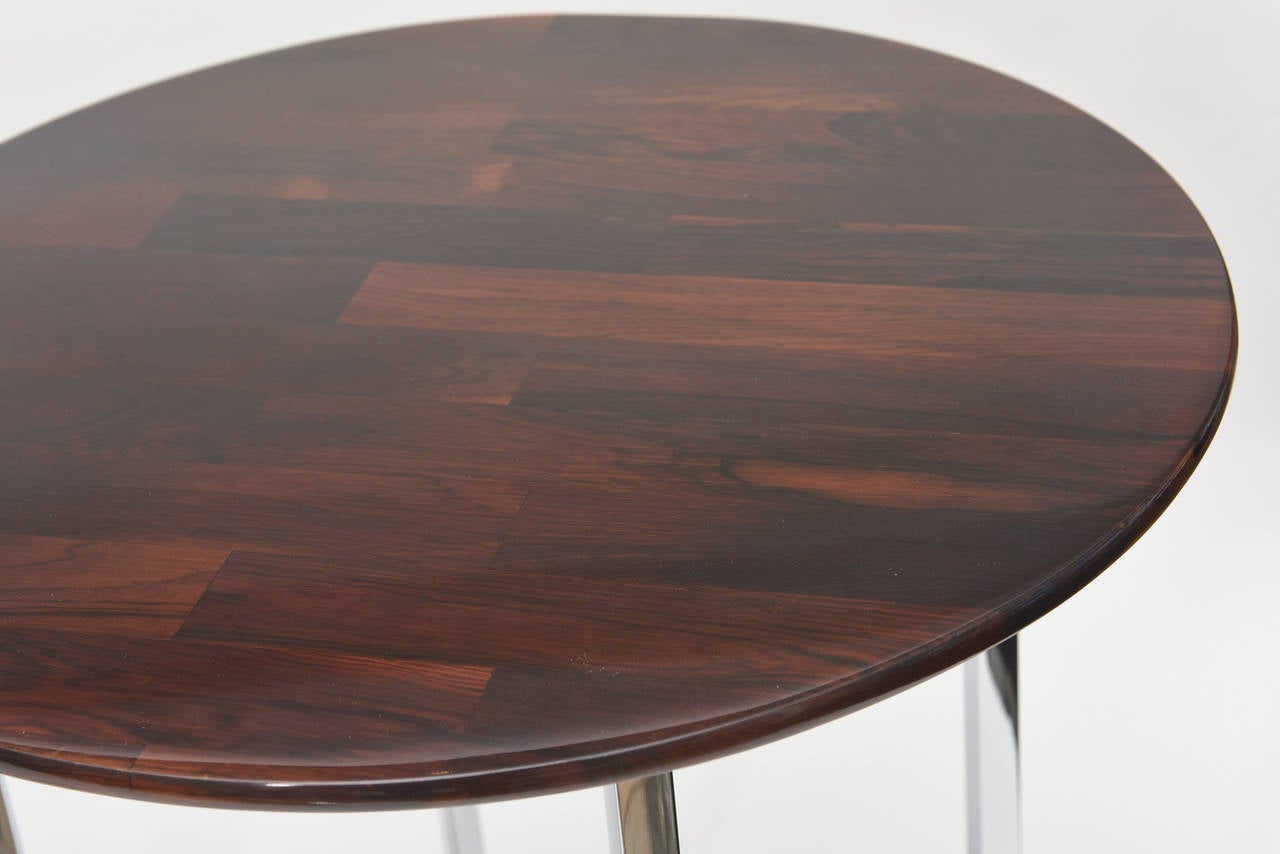 American Pair of Milo Baughman Polished Chrome and Wood Side Tables/ HOLIDAY SALE For Sale