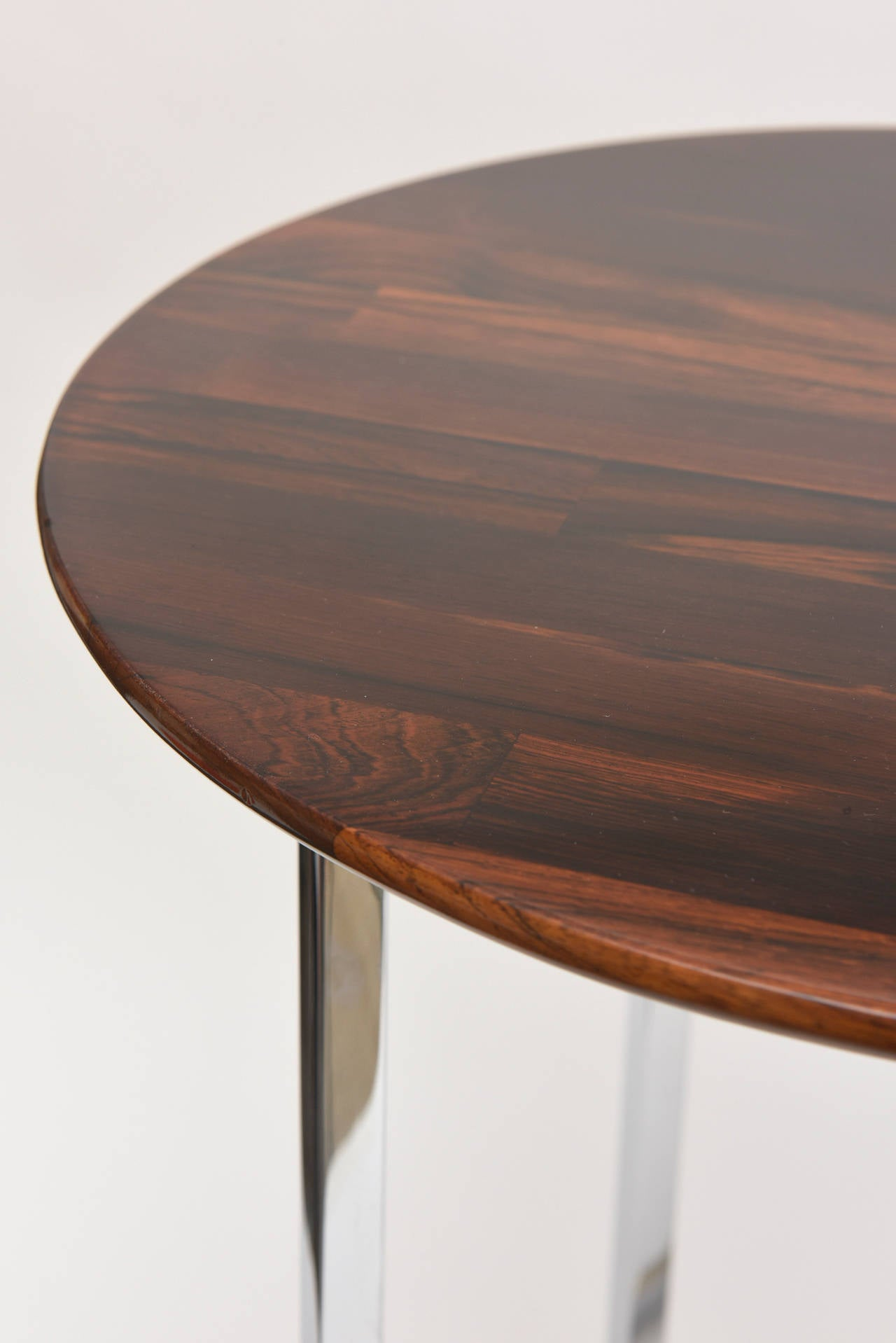 Late 20th Century Pair of Milo Baughman Polished Chrome and Wood Side Tables/ HOLIDAY SALE For Sale