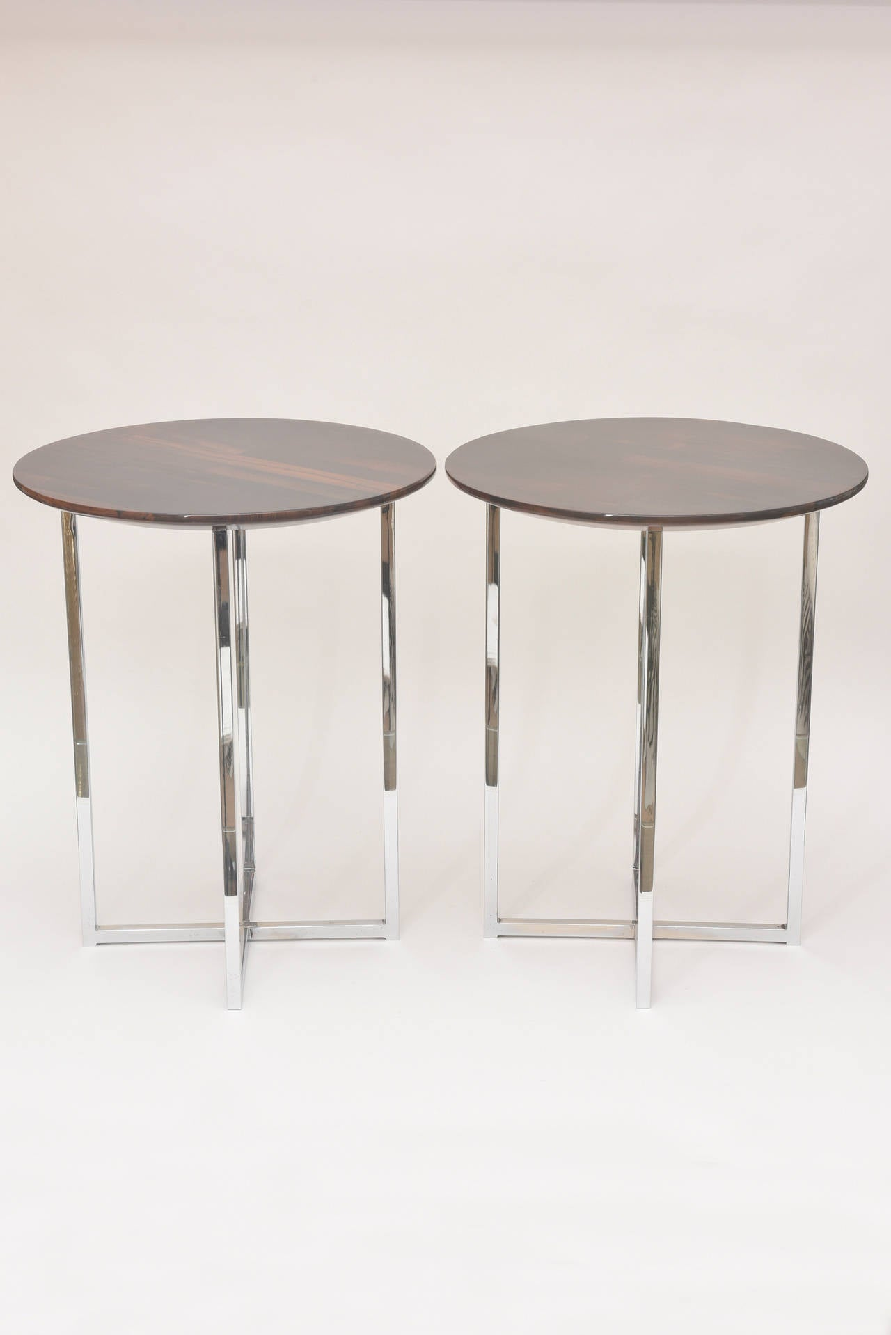 Pair of Milo Baughman Polished Chrome and Wood Side Tables/ HOLIDAY SALE For Sale 1