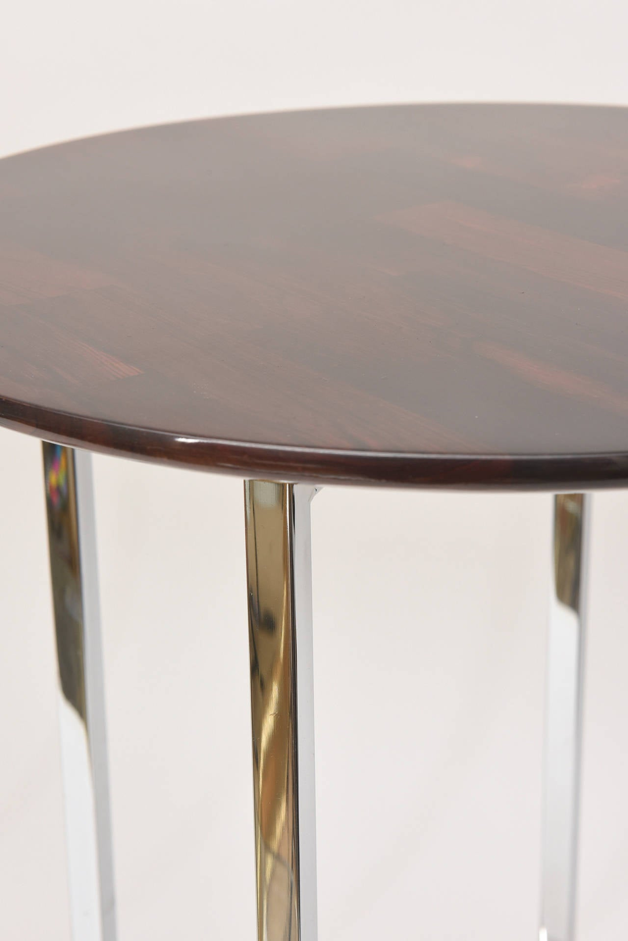 Pair of Milo Baughman Polished Chrome and Wood Side Tables/ HOLIDAY SALE For Sale 2