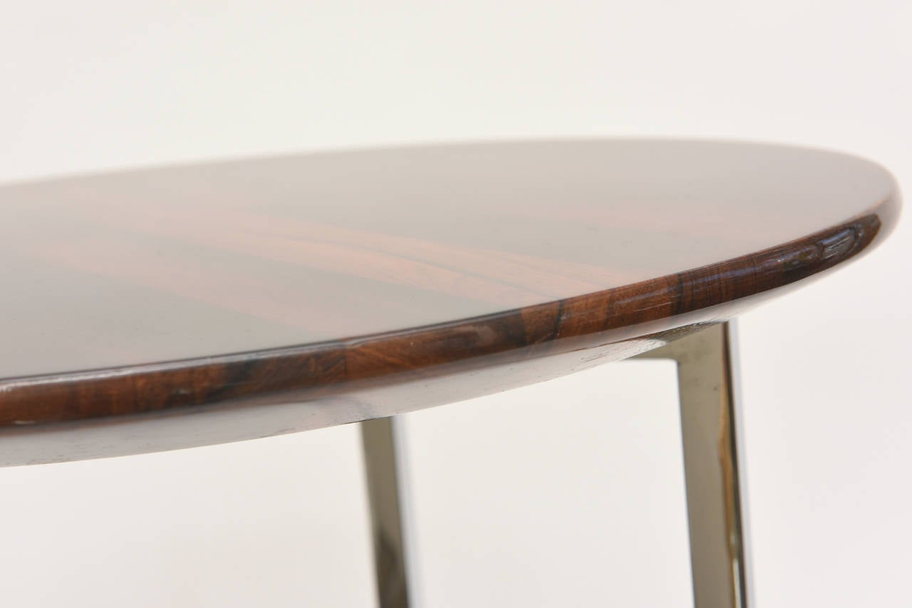 Pair of Milo Baughman Polished Chrome and Wood Side Tables/ HOLIDAY SALE For Sale 4